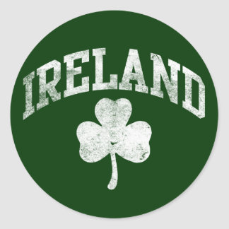 Ireland, Grunge Style Shamrock Varsity Classic Round Sticker