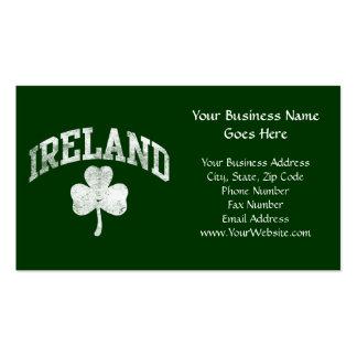 Ireland, Grunge Style Shamrock Varsity Double-Sided Standard Business Cards (Pack Of 100)