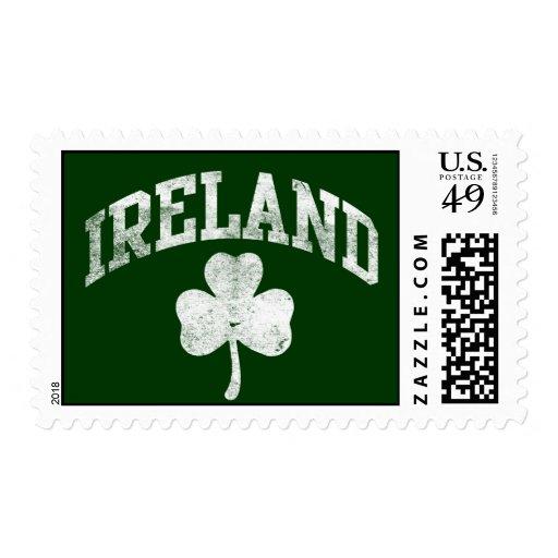 Ireland, Grunge Varsity Style Postage Stamp