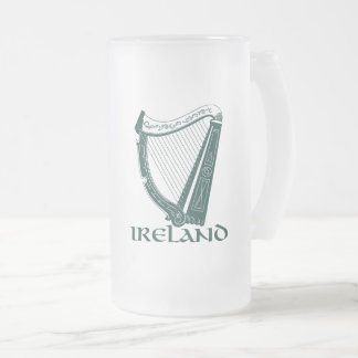 Ireland Harp Design, Irish Harp Frosted Glass Beer Mug