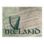 Ireland Harp Design, Irish Harp Postcard