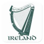 Ireland Harp Design, Irish Harp Square Sticker