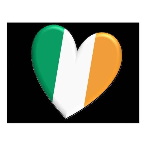 Ireland Heart Flag Postcard