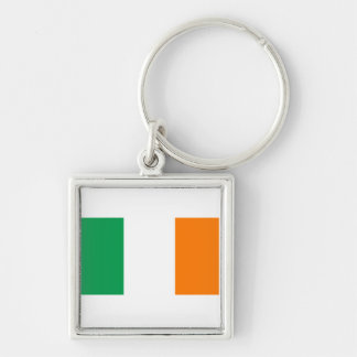 Ireland IE Silver-Colored Square Keychain