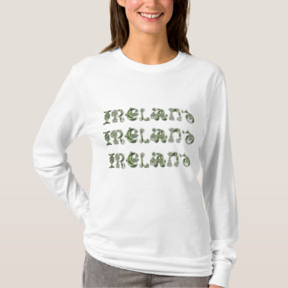 IRELAND in Celtic Knot Text Ladies Shirt
