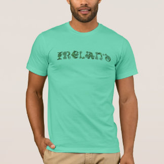 IRELAND in Celtic Knot Wording on a Shirt