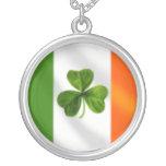 Ireland Irish flag Clover Necklace
