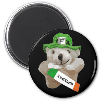 Ireland, Irish Leprechaun Teddy Bear, Black 2 Inch Round Magnet