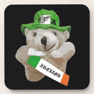 Ireland, Irish Leprechaun Teddy Bear, Black Coaster