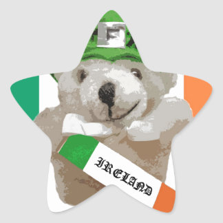 Ireland, Irish Leprechaun Teddy Bear, Flag Star Sticker