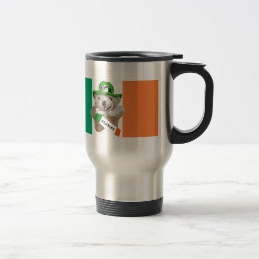 Ireland, Irish Leprechaun Teddy Bear, Flag Travel Mug