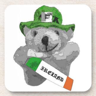Ireland, Irish Leprechaun Teddy Bear, Part B&W Drink Coaster