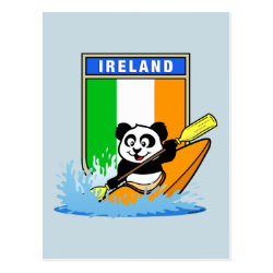 Postcard with Irish Kayaking Panda design