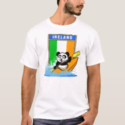 Men's Basic T-Shirt with Irish Kayaking Panda design