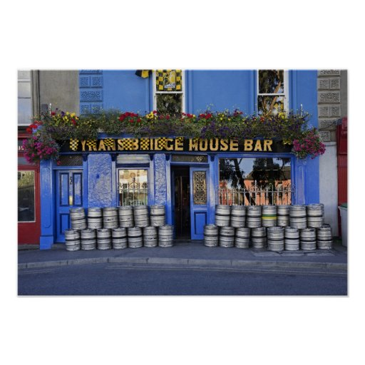 Ireland, Kilkenny. Exterior of pub with beer Poster