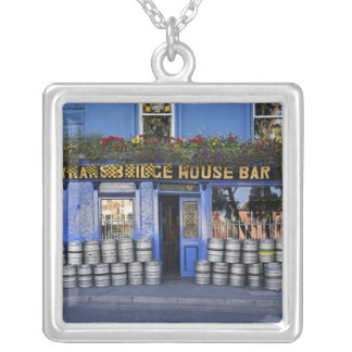 Ireland, Kilkenny. Exterior of pub with beer Silver Plated Necklace