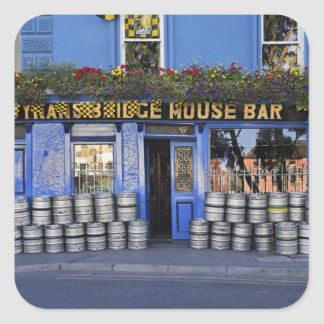 Ireland, Kilkenny. Exterior of pub with beer Square Sticker