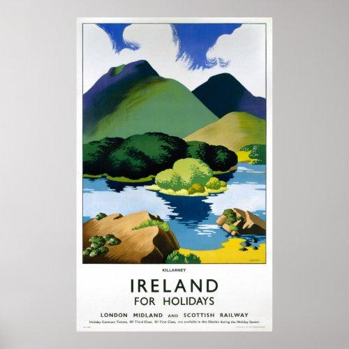 Ireland Killarney Vintage Travel Poster Restored