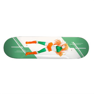 Ireland Manga Anime girl dressed in Flag Irish Skateboard