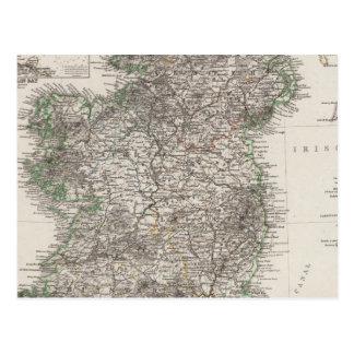 Ireland Map by Stieler Postcard