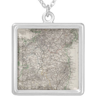 Ireland Map by Stieler Silver Plated Necklace