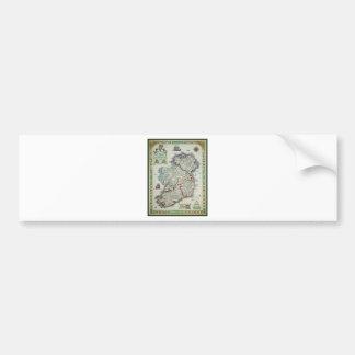 Ireland Map - Irish Eire Erin Historic Map Bumper Sticker
