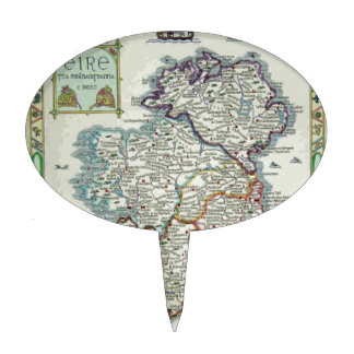 Ireland Map - Irish Eire Erin Historic Map Cake Topper
