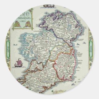 Ireland Map - Irish Eire Erin Historic Map Classic Round Sticker