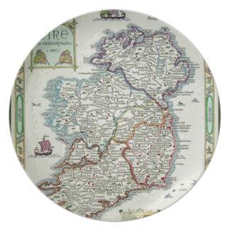 Ireland Map - Irish Eire Erin Historic Map Dinner Plate