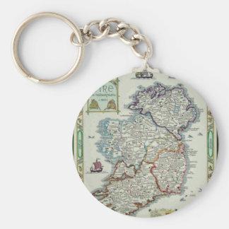 Ireland Map - Irish Eire Erin Historic Map Keychain