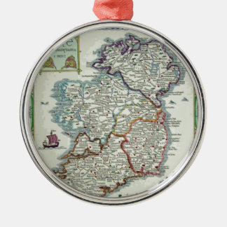 Ireland Map - Irish Eire Erin Historic Map Metal Ornament