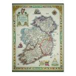 Ireland Map - Irish Eire Erin Historic Map Postcard