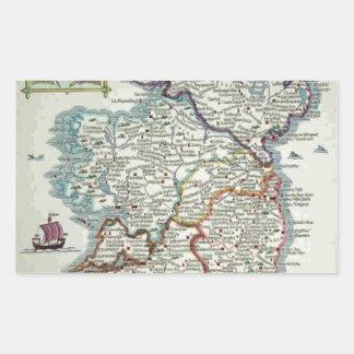 Ireland Map - Irish Eire Erin Historic Map Rectangular Sticker
