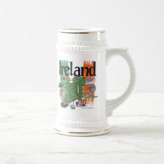 ireland map 18 oz beer stein