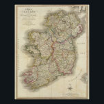 """Ireland map poster<br><div class=""""desc"""">Ireland. By Faden,  William (179). Published by &#39;&#39;London: William Faden&#39;&#39;.</div>"""