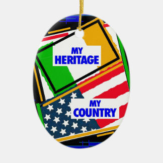 Ireland,...my heritage, USA,...my country. Ceramic Ornament
