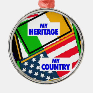 Ireland,...my heritage, USA,...my country. Metal Ornament