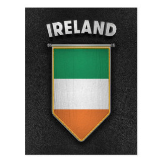 Ireland Pennant with high quality leather look Postcard