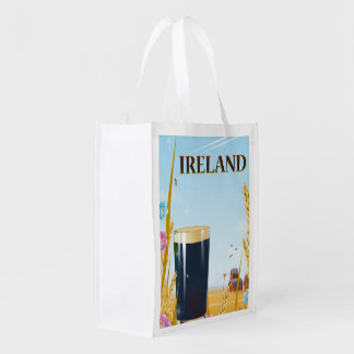 Ireland pint landscape travel poster grocery bag