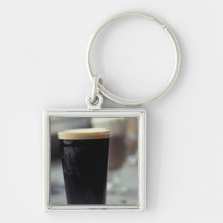 Ireland. Pint of stout. Silver-Colored Square Keychain