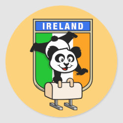 Round Sticker with Irish Pommel Horse Panda design