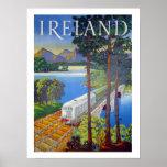 Ireland, railway, landscape view, vintage, travel poster