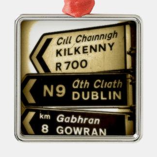 Ireland Roadside Signs Metal Ornament