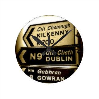 Ireland Roadside Signs Round Clock
