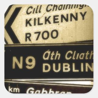 Ireland Roadside Signs Square Sticker