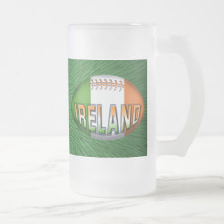 Ireland Rugby Ball 16 Oz Frosted Glass Beer Mug