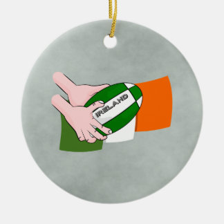 Ireland Rugby Team Supporters Flag With Ball Ceramic Ornament