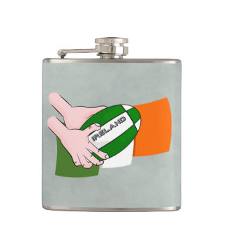 Ireland Rugby Team Supporters Flag With Ball Flask