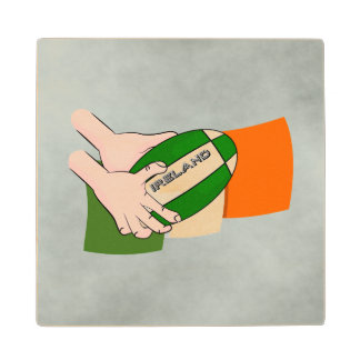 Ireland Rugby Team Supporters Flag With Ball Wood Coaster