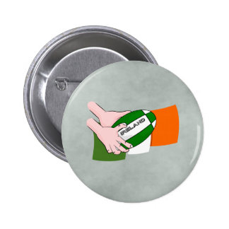 Ireland Rugby Team Supporters Flag With Ball Pinback Button